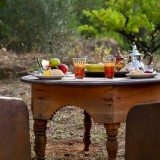 Outdoor furniture of our North African rental tent La Jaima