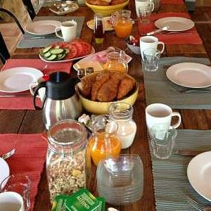 Enjoying our breakfast at B&B Los Establos