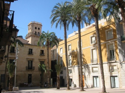 Beautiful cities Costa Blanca, a square in Alicante old town