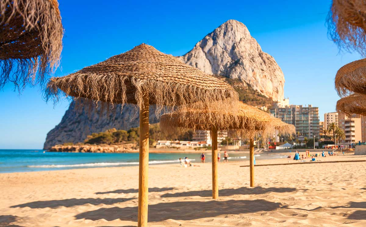 The Costa Blanca Beaches, this is Calpe with the Peñon Ifach on the back