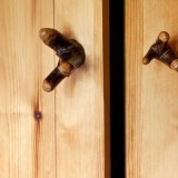 detail of the kitchen cabinet handles