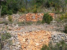 en primer plano una pared de la terraza destruida por los jabalíes - tras un muro ya reparado de nosotros