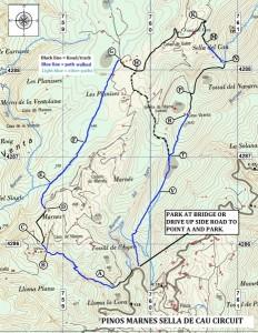 bergwandelen Spanje, dit is de route pinos, marnes, sella de cau
