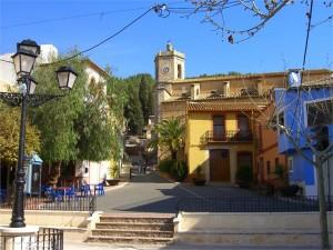 Het dorpspleintje in Lliber, mooie dorpen Alicante