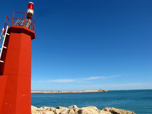 Steden aan de Costa Blanca, pier in zee Denia